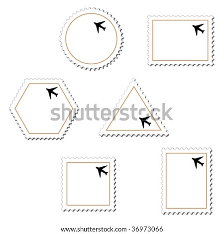 Vector stamps with airplane - stock vector
