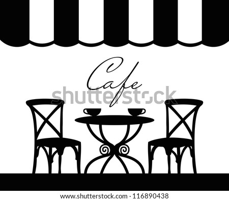 Vector street cafe, French cafe - stock vector
