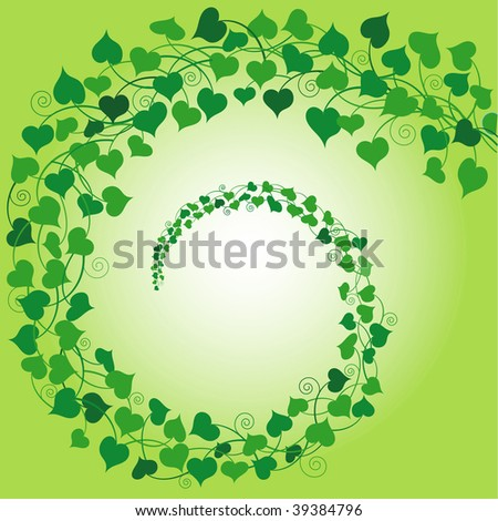 (Vector) Swirly background of 'String of Hearts' plant