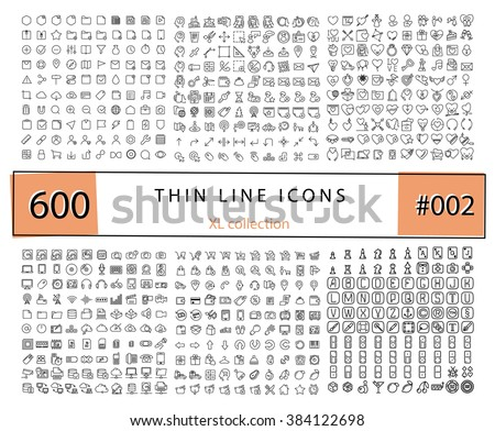 600 Vector thin line icons set for infographics, mobile UX/UI kit and print design. Games, love,wedding, e-commerce, business, documents, web store, electronics, technology. - stock vector