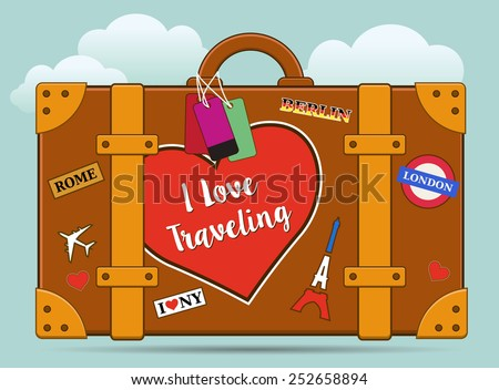 Vector traveling baggage vector suitcase with stickers - stock vector