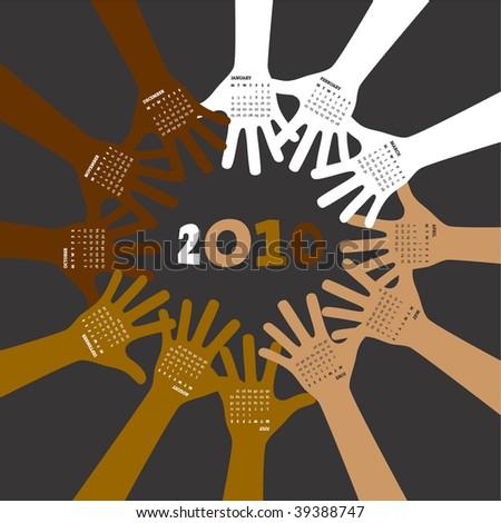 2010 vector unity calendar - stock vector
