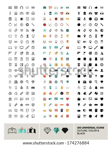 300 vector universal icons made in outline, color and black - stock vector