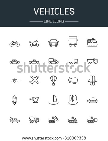 vector vehicles icons line style