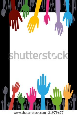 vector version of colorful hands and banner concept - stock vector