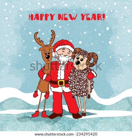 2015 Vector vintage invitation Merry Christmas and Happy New year with cute Santa Claus, Deer and Sheep symbol of the year. Perfect as Invitation or Announcement, Greeting Card. Vector 10 EPS - stock vector
