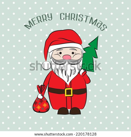 2015 Vector vintage invitation Merry Christmas and Happy New year with cute Santa Claus. Suitable for various designs, invitation, thank you card, save the date cards and scrapbooking. - stock vector