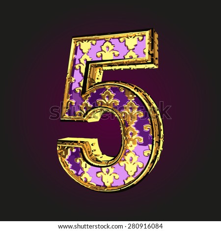 5 vector violet letter with gold