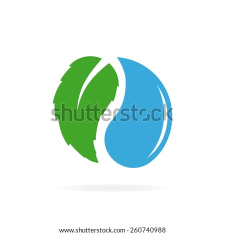 Vector water and leaf logo design - stock vector