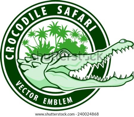 vector wild african crocodile safari emblem illustration - stock vector