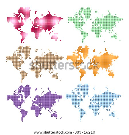 vector world map illustration and infographics design template. The navigation map of the world. The pixel map of the globe. Pixel continents and countries. Drawing Planet Earth - stock vector