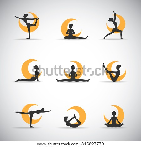 9 vector yoga pose silhouettes with the moon - stock vector
