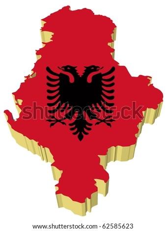 Vector Illustration Map Flag Albania Stock Vector - Albania map