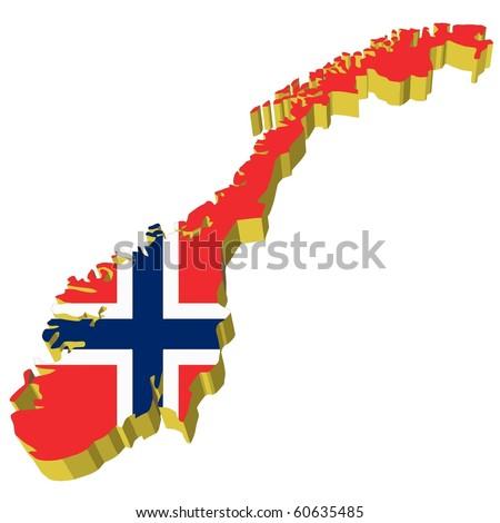 vectors 3D map of Norway - stock vector