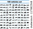 100 vehicles, set of vehicles, transportation set, car set, ship set, plane set, logistic icon - stock photo