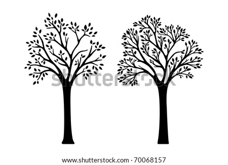 2 versions of tree silhouettes - vector illustration - stock vector