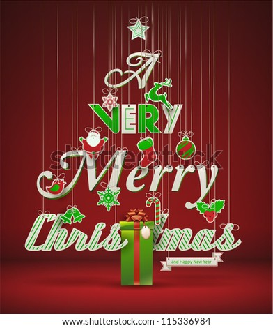 """Very Merry Christmas"", creative Christmas tree. Vector illustration. - stock vector"