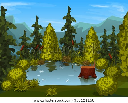 view from above. forest lake - stock vector