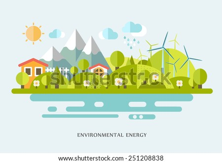 Village landscape, flat vector illustration. Ecology info-graphic elements flat design. Eco life, eco-friendly city, village, country house, windmills - stock vector