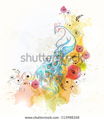 vintage Background with floral ornament with flower for retro design - stock vector