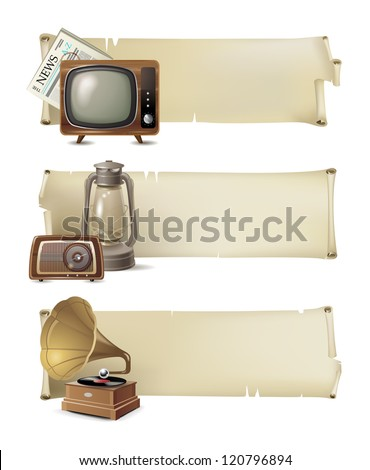 3 vintage banners - stock vector