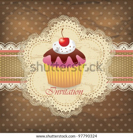 Vintage card with cupcake 015 - stock vector
