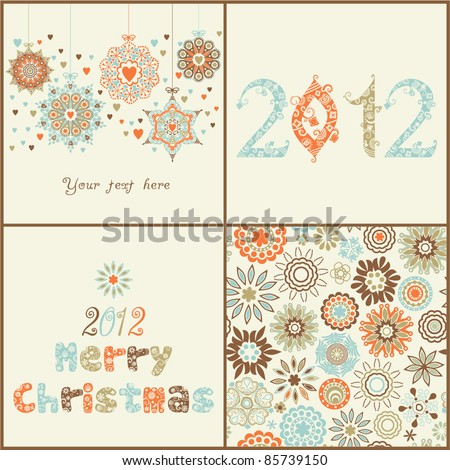 Vintage  Christmas set. of four backgrounds. Retro Christmas  elements for design:ornate  Christmas balls, 2012 ornamental font, seamless texture with snowflakes and stylized  Christmas tree. - stock vector
