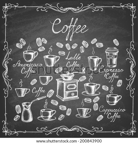 � Vintage coffee collection. Sketches of  hand-drawn coffee with chalks on blackboard. Vector illustration. - stock vector