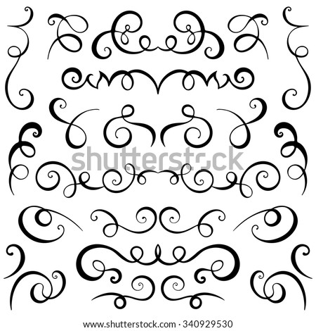 Vintage decorative curls and swirls set. Hand drawn vector illustration design elements. - stock vector