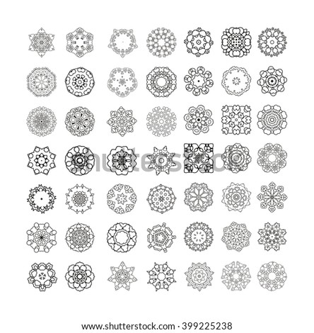 Vintage decorative elements.Circular pattern of traditional motifs and ancient oriental ornaments. Hand drawn background. - stock vector
