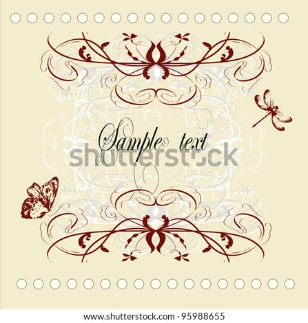 vintage decorative vector frame with place for text or message - stock vector