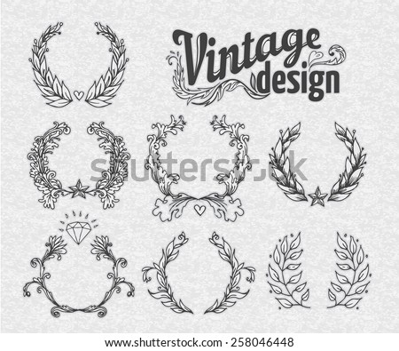 Vintage design elements set. Wreath collection. Vector illustration. - stock vector