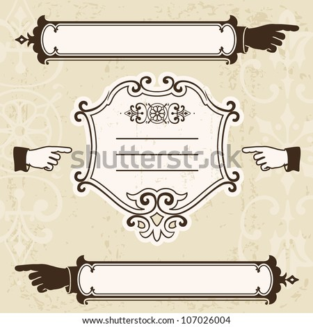 Vintage design elements with pointing hands and signboard. Space for text - stock vector