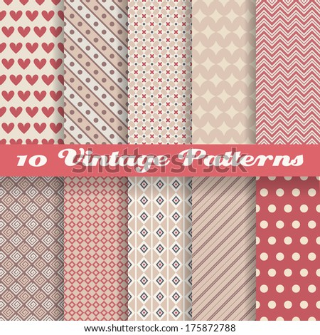 10 Vintage different vector patterns (tiling). Endless texture for wallpaper, fill, web page background, surface texture. Set of monochrome geometric ornament. Red and beige shabby colors. - stock vector