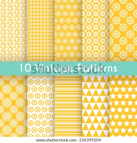 10 Vintage different vector seamless patterns. Endless texture for wallpaper, fill, web page background, surface texture. Set of monochrome geometric ornament. Yellow, blue and white shabby colors. - stock vector