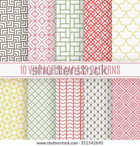 10 Vintage different vector seamless patterns. Endless texture for wallpaper, fill, web page background, surface texture. Set of monochrome geometric ornament. Shabby colors. - stock vector