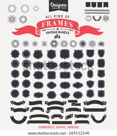 70+ Vintage frame bundle. Perfect elements for unique elegant logos. - Designer Collection - stock vector
