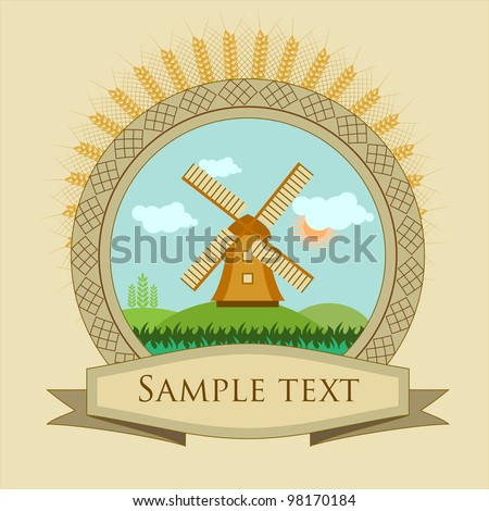 vintage frame, label windmill and grain illustration - stock vector