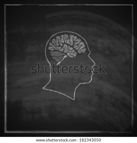 vintage illustration of human head with brain on blackboard background