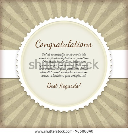 Vintage label. Congratulations card - stock vector