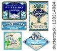 5 vintage labels - stock vector
