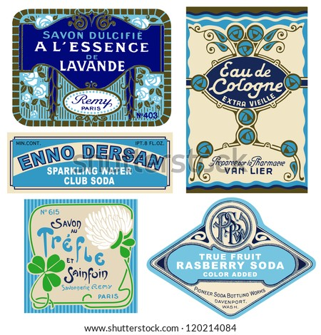 5 vintage labels - stock vector