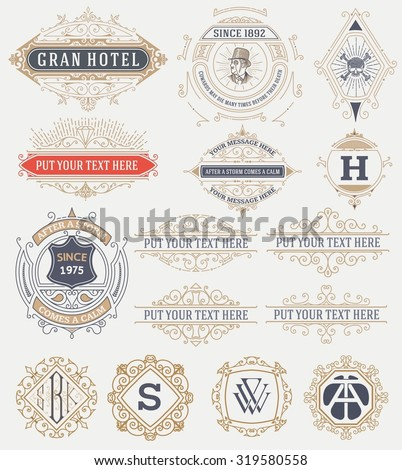 15 Vintage labels and banners. Vector - stock vector