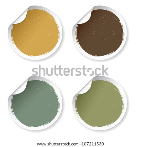4 Vintage Labels, Isolated On White Background, Vector Illustration - stock vector