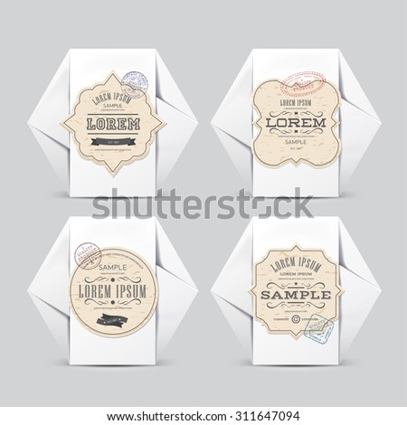 Vintage labels on White Paper Box. For Your Design. Product Packing 100% quality - stock vector
