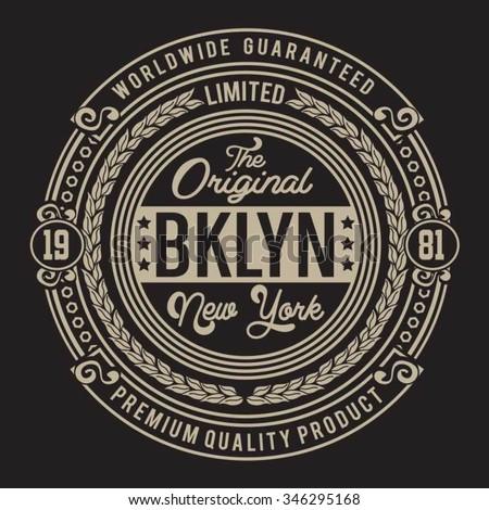 Vintage New York Brooklyn typography, t-shirt graphics, vectors - stock vector