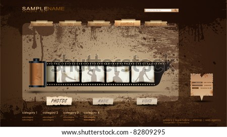 Vintage Portfolio Website page/photos 1600x900 - stock vector