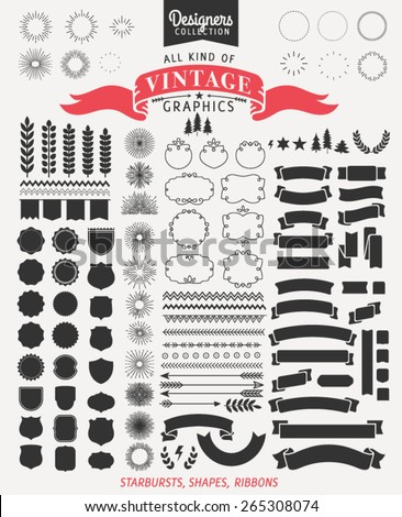 +100 Vintage Premium Styled Ribbons, starbursts and shapes - Designers Collection - stock vector