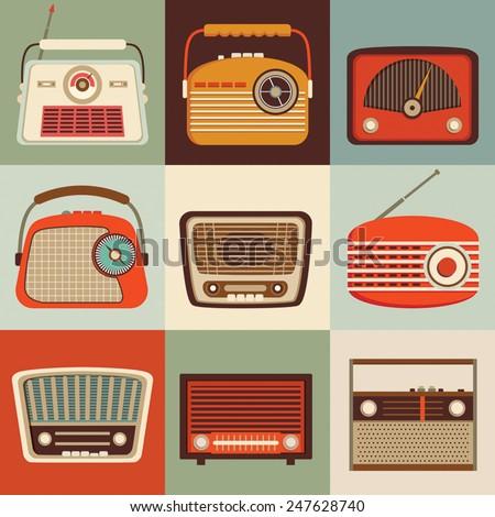 Vintage radio set A set of nine retro gears - stock vector