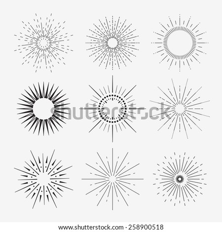 9 vintage sunbursts collection with geometric shape, light ray. Set of vintage sunbursts in different shapes. - stock vector